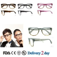 2015 new glasses handmade acetate spectacle frame cut eyewear for girls clear lens glasses with spring hinge pink color eyewear