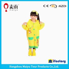 yellow color spring cartoon kids rain coat with school bag cover