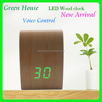 LED decorative desktop time alarm clock , digital wooden table clock