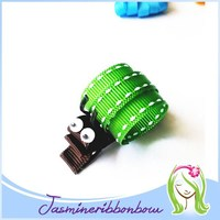 Molly the Freckled Green Snail Hair Clip, Hair Accessory, girl Ribbon Sculpture, Barrette