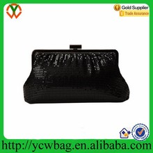 Clasp closure with shoulder strap shirring metal mesh clutch bag crystal evening bag