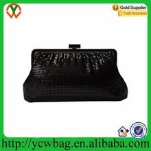 Clasp closure with shoulder strap shirring metal mesh clutch bag crystal evening bag