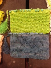 Thai handmade soft straw weave cosmetic/pencil case bag with Ponpons Fashionable and unique