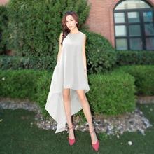 Girls' Fashion Irregularity Wedding Dress White Sexy Sleeveless Ladies' Long Dress Party Evening Women Dress