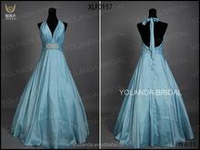 XLF0157 Spain Designs Wholesale Taffeta Halter Sexy Back Open Evening Gown Dress