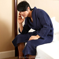 navy blue shawl collar waffle bathrobe sex product for men