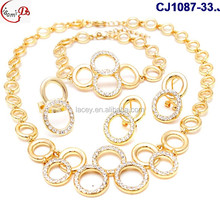 CJ1087(33-38) golden silver gold plating jewelry sets for women wedding/evening party