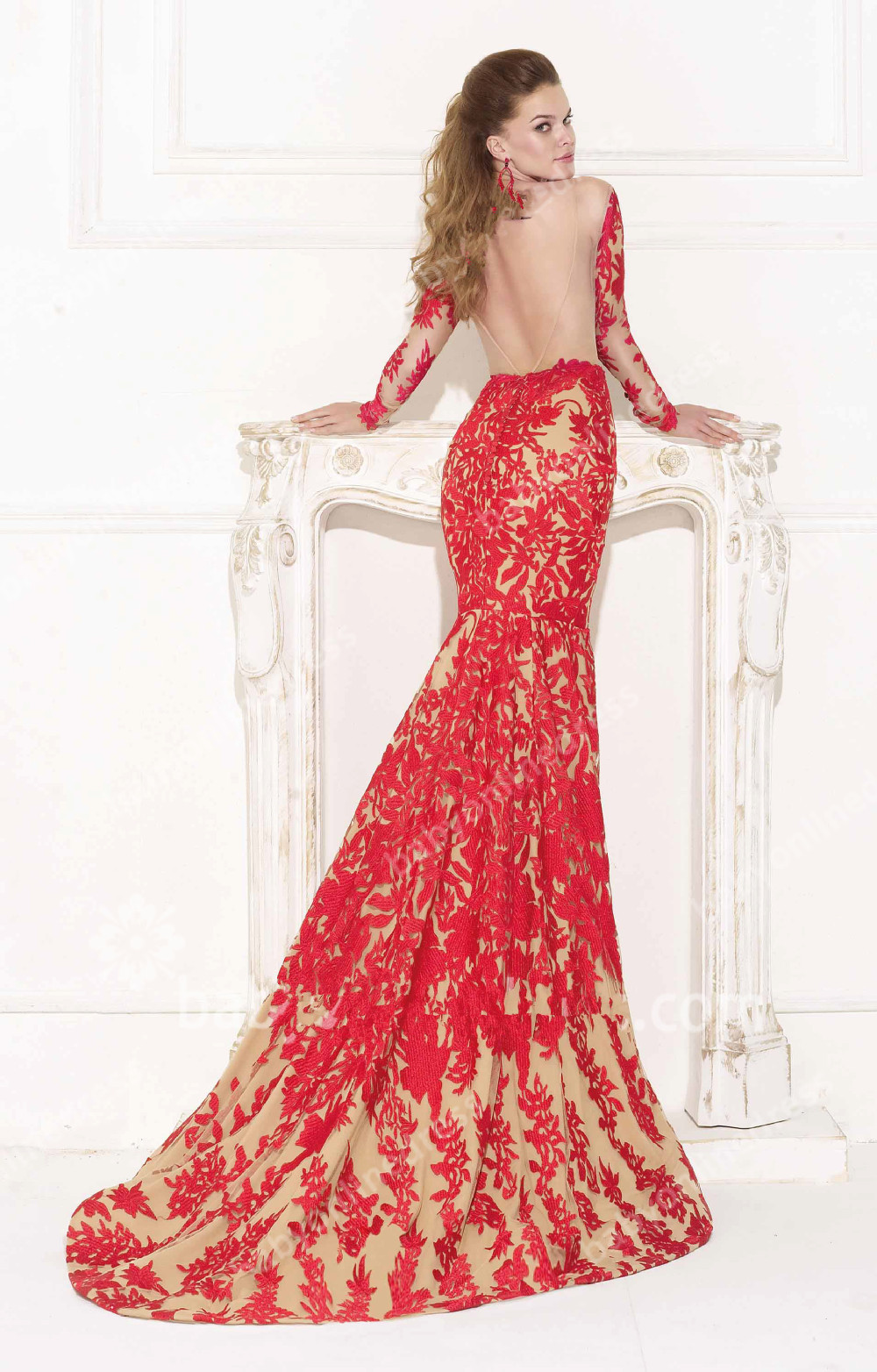 Red Open Back Mermaid Dress v Open Back Lace Red Dress