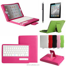 Delicate Leather tablet cover case with detachable bluetooth keyboard in Multi-language