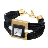 high quality Beautiful Adjustable Belt Metal Bracelets&Bangles With Big crystal Mosaic Leather Bracelet For Woman Jewelry