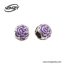 New Design Luxury Style Handmade Beads Purple Enamel Big Size Round Charm Beads for Women Jewelry Making