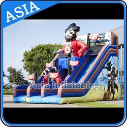 Custom made Inflatable pirate ship double slip slide/inflatable pirate ship slide for sale
