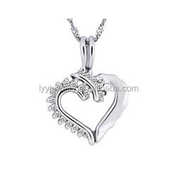 cheap bulk jewelry, two half heart shape pendant jewelry