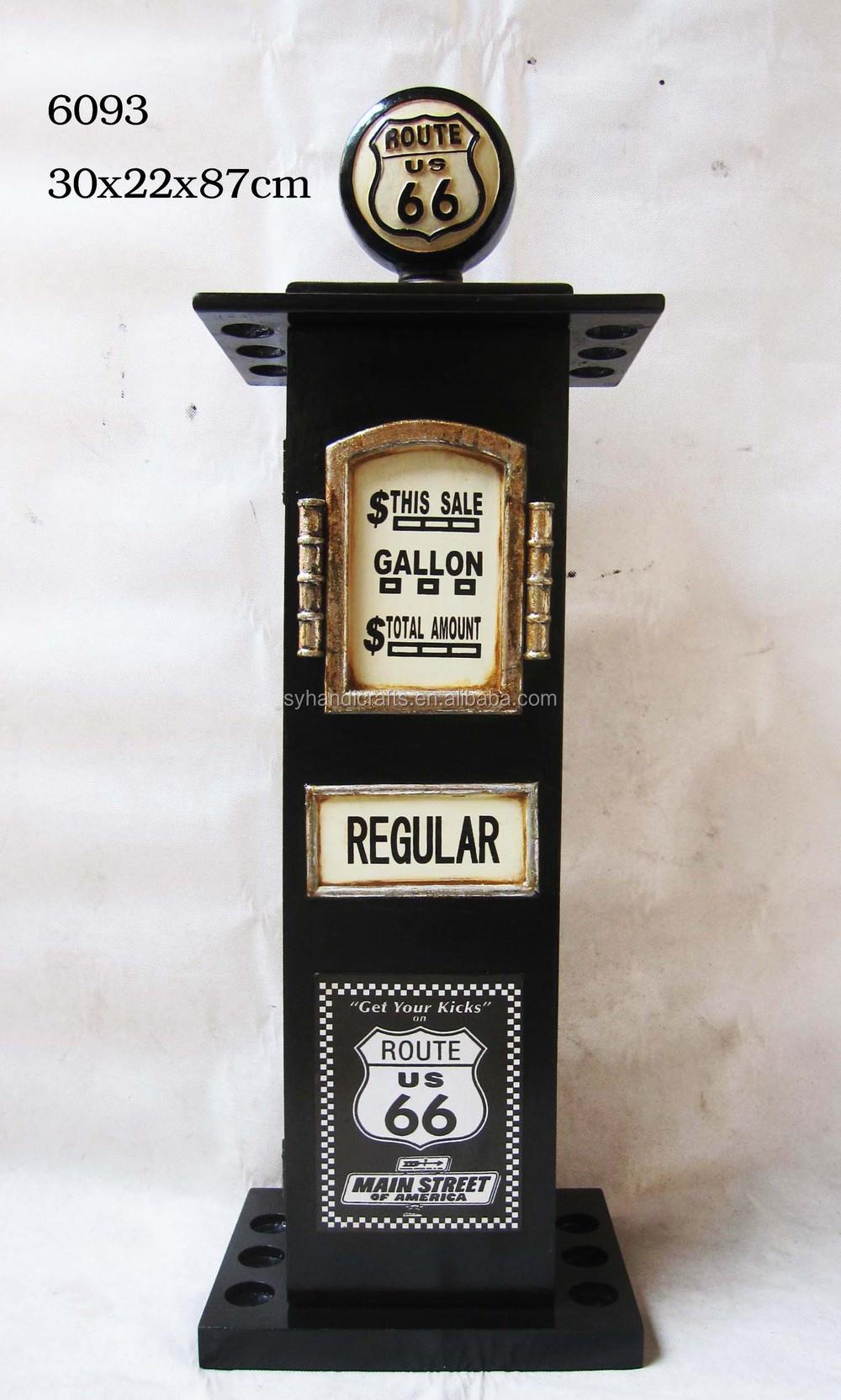 Nieuwe zwarte benzinepomp cd rek, decoratieve antieke houten ...