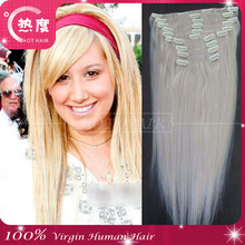 Straight Full head Clip in on Hair Extensions white Black Brown Blonde red auburn hair Extention
