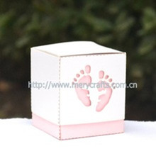 "Hot sale! gift box from Mery Crafts! laser cut ""baby feet"" favor box"