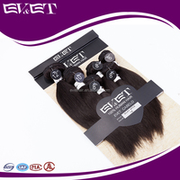 EVET new brand name no tangle no chemical silky straight 6pc/lot 1b color virgin human hair weaving