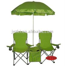 folding outdoor metal double camping chair with umbrella