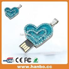 blue heart metal USB Flash drive128GB ,customized capacity USB