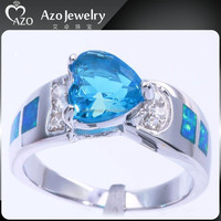 Top Quality 925 Sterling Silver Blue Fire Opal Blue Star Sapphire Ring