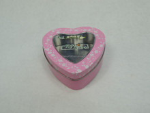 heart shape candy tin box,black cake tins,95*95*37mm