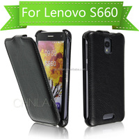 2014 Unique business style thermoforming flip wallet leather case cover for lenovo s660