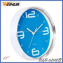 Square 11inch hot sell analog quartz blue wall clock theme
