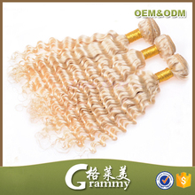 Most popular wholesale high quality grade 7a curly hair weaving remy russian blonde hair extensions