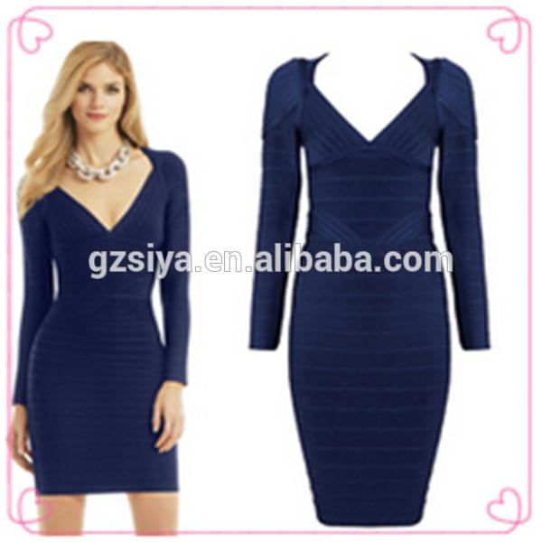 Vestido azul oscuro manga larga