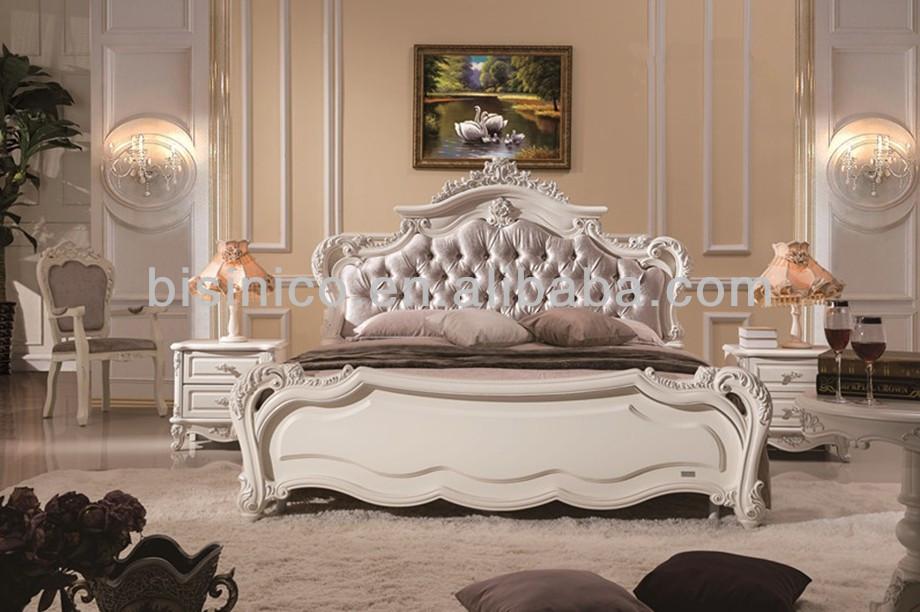 Princess lovely style fancy bed wooden hand carved soft bed elegant solid wood bedroom furniture for Princess style bedroom furniture