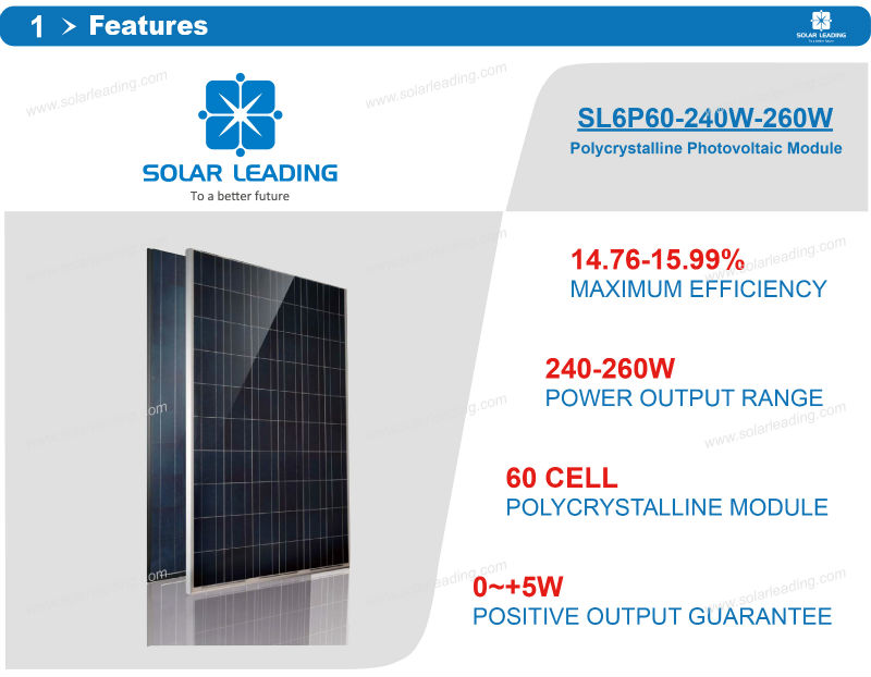 Monocrystalline Solar Panel 250W for Home Use System with 25years warranty