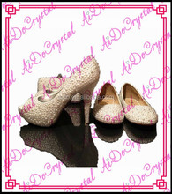 Aidocrystal ivory pearls open toe shoes and comfortable flat white bridal party shoes and bag set