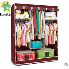 PN Multiple Colors Triple Portable Canvas Wardrobe Hanging Rail Large Storage Space wardrobe