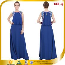 Summer Women Dress Muslim Blue Sleeveless Chiffon Evening Dress 2015