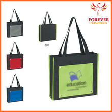 """2015 New Design Promotional Gifts 14"""" Polyester Green Color Shopping Tote Bag"""