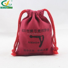 durable cotton canvas red drawstring bag promotional