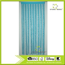 Hanging bead curtain with blue ribbons