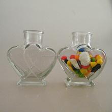 Heart Shape Glass Bottle Vial 60ml Wooden Airtight Cap