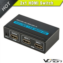 2x1 Port Hdmi Switch2x1 with 3feet Hdmi Pigtail Cable in ABS Black