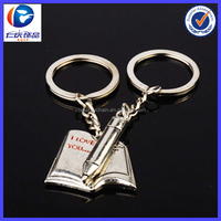Fashion note and pen couple keychain with metal