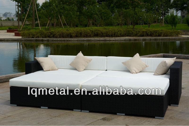 Popular sofa bed garden synthetic rattan furniture buy for Sofa exterior jardim