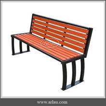 Public wood long bench with backrest for sale