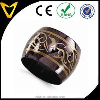 Top Craftmanship Titnaium Wedding Ring Mens Engagement Ring Titanium, Hot Black Titanium Copper Color Anodized 16mm Wedding Band
