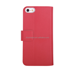 Mobile Phone Leather For Apple 5C 5 PLAIN WEAVE Leather Pure Colour Factory Price