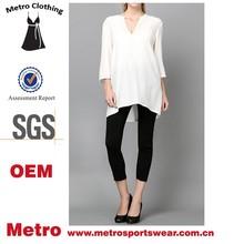 Custom damas v-cuello de manga larga blanca blusa de seda
