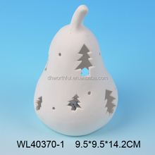 Elegant white porcelain pear for tealight or led light
