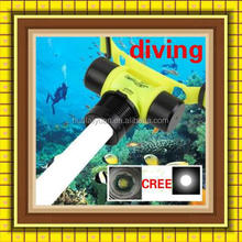 New 800lm CREE Q5 5wLED Waterproof Underwater Diving Headlight Zoomable Flashlight Yellow Headlamp Head Light
