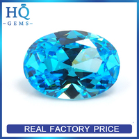 Blue Oval Shaped Synthetic CZ Stones Gems Cubic Zirconia