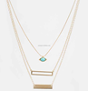 Fashion gold long chain necklace rectangle layer necklace evil eye necklace