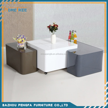 Modern Style High Gloss MDF Square White Coffee Table HTCO-71